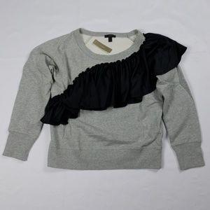 J. Crew ruffle satin sweatshirt Tops NWT